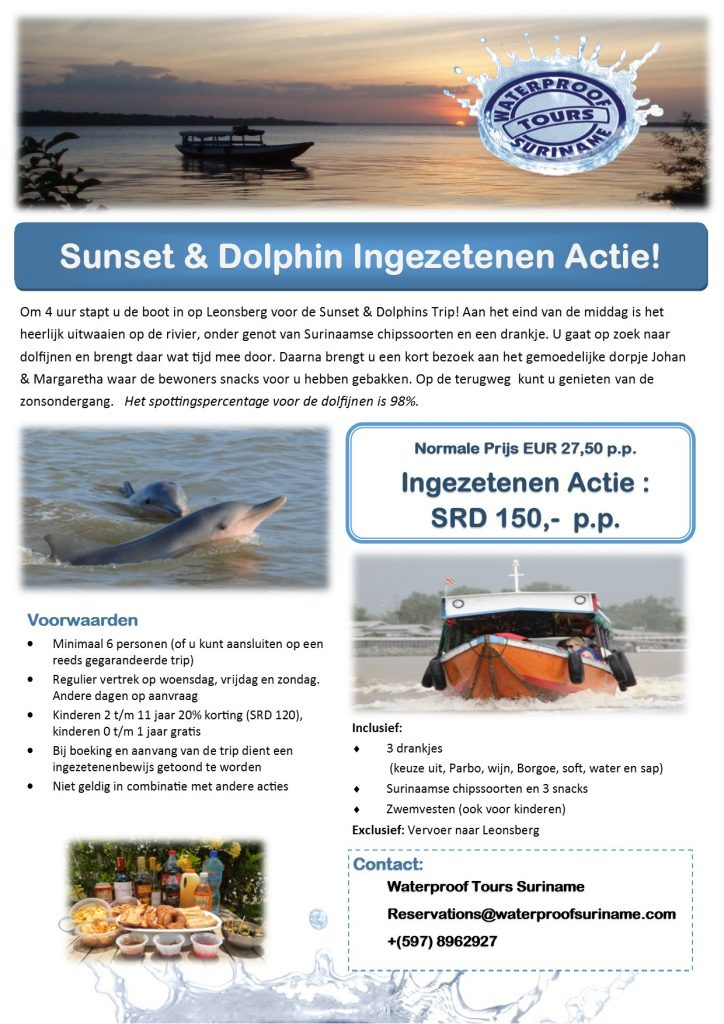 ingezetenen actie suriname sunset dolphin tour